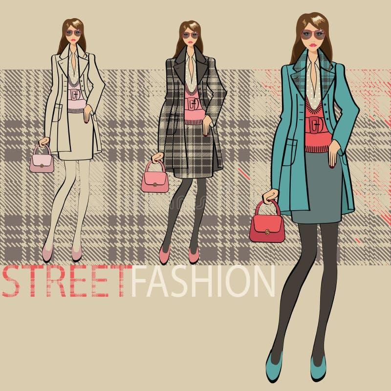 Belle fille à la mode Ensemble d'options Illustration de mode illustration stock