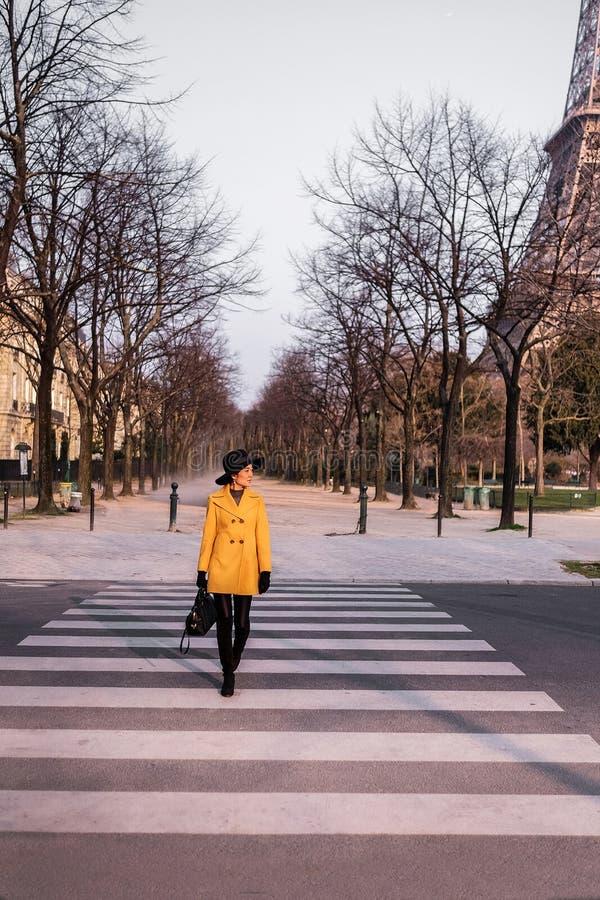 Belle fille à Paris, France en hiver image libre de droits