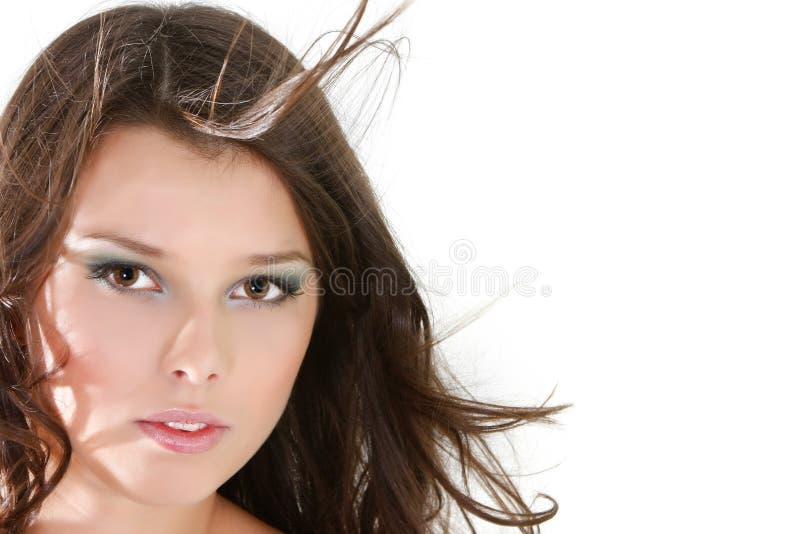 Belle fille au-dessus de blanc photos stock