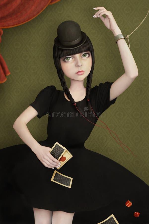 Belle fille avec des cartes illustration stock