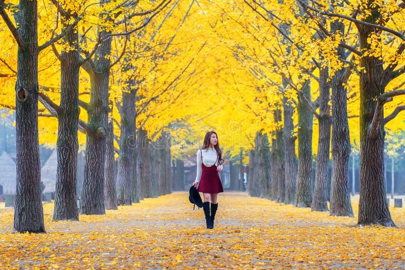 Belle fille avec des feuilles de jaune en Nami Island, Corée image libre de droits