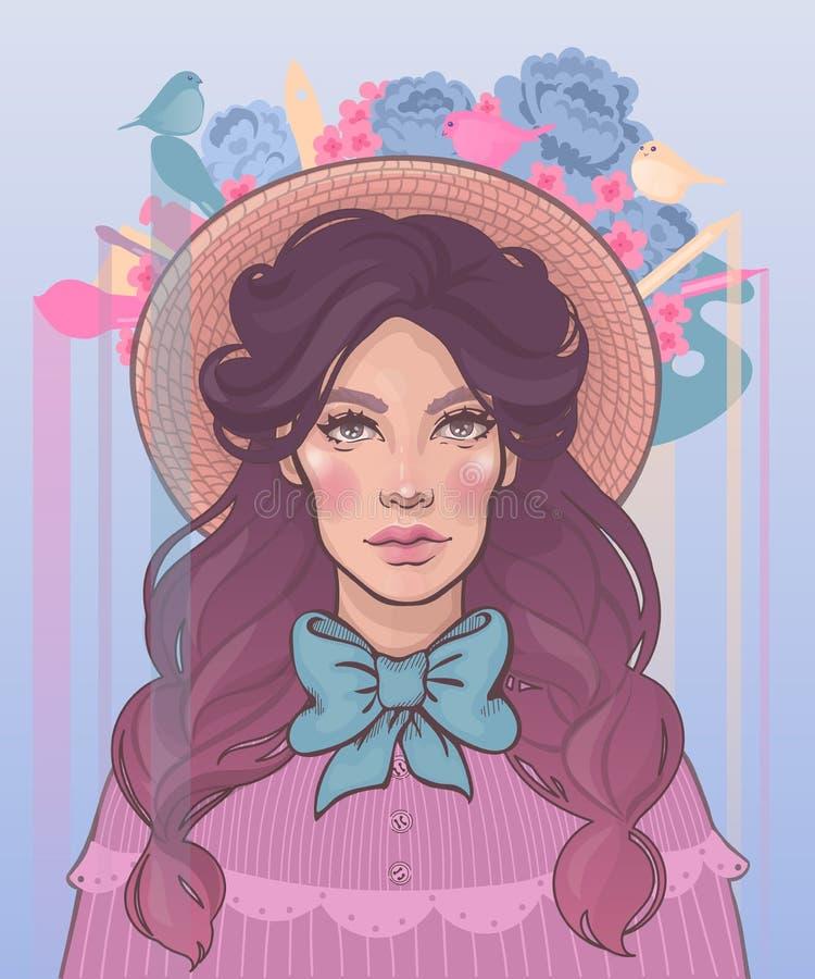 belle fille avec des tresses utilisant un chapeau illustration libre de droits