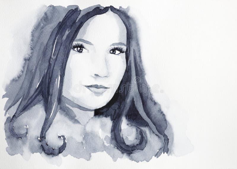 Belle fille avec des yeux de tentation illustration libre de droits