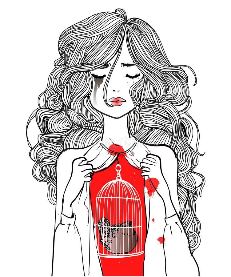 Belle fille avec l'oiseau dans la cage illustration de vecteur