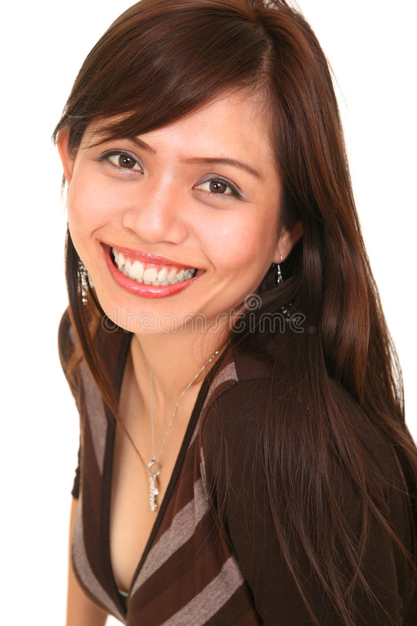 Belle fille avec le grand sourire photo stock