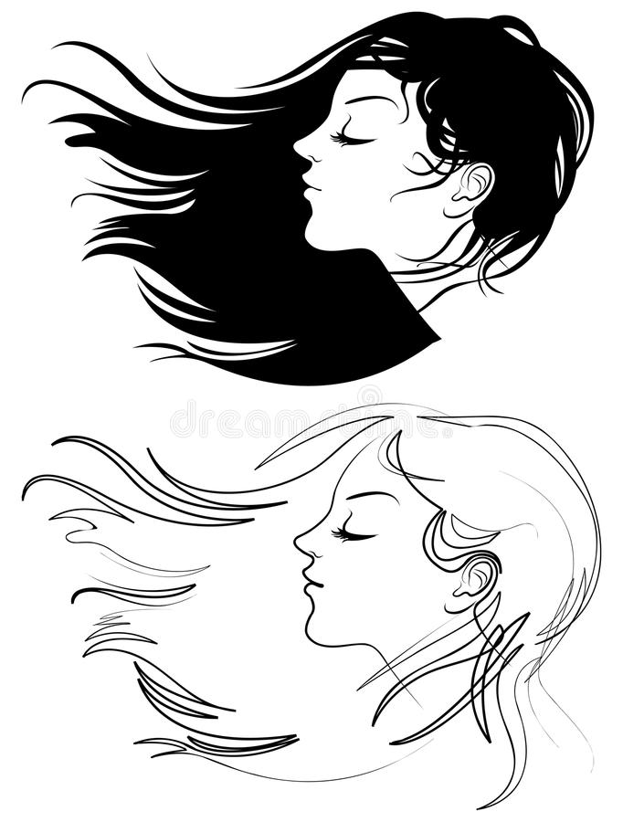 Belle fille avec le long cheveu illustration de vecteur