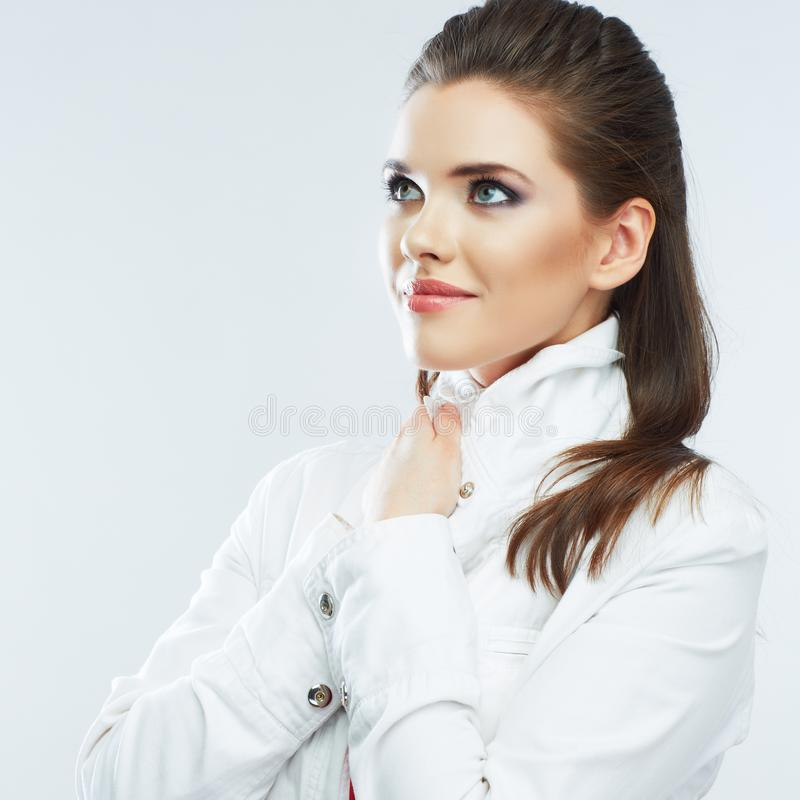 Belle fille avec le long portrait de cheveux images stock
