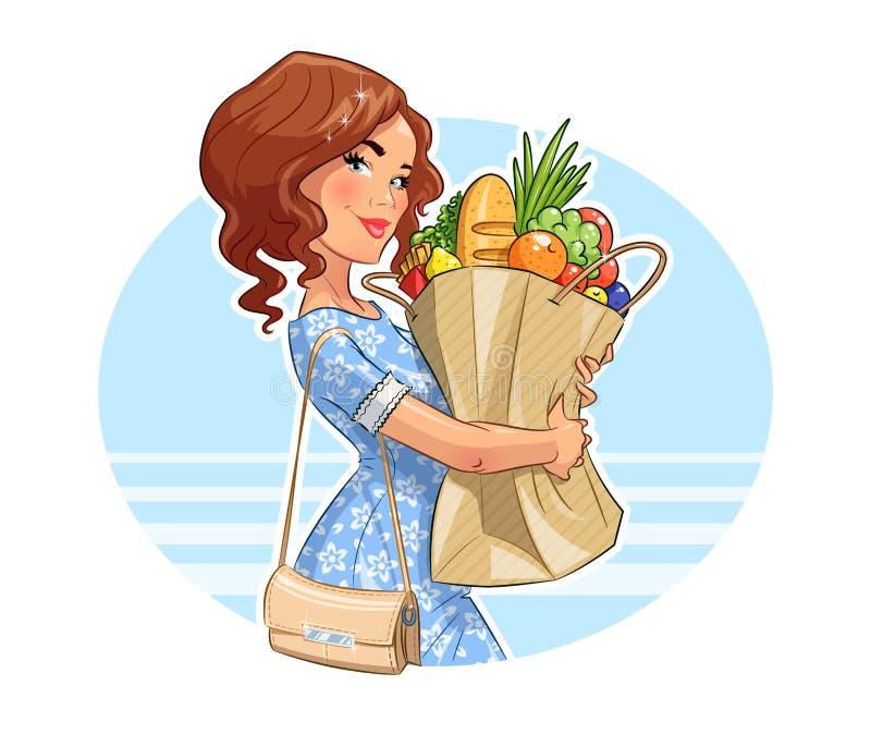 Belle fille avec le paquet des produits Achats illustration de vecteur