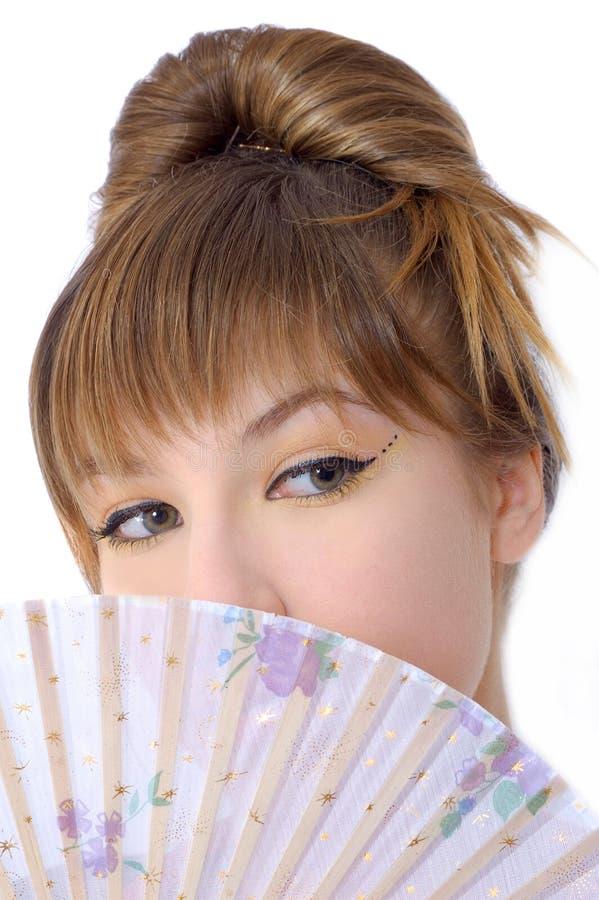 Belle fille avec le ventilateur photos stock