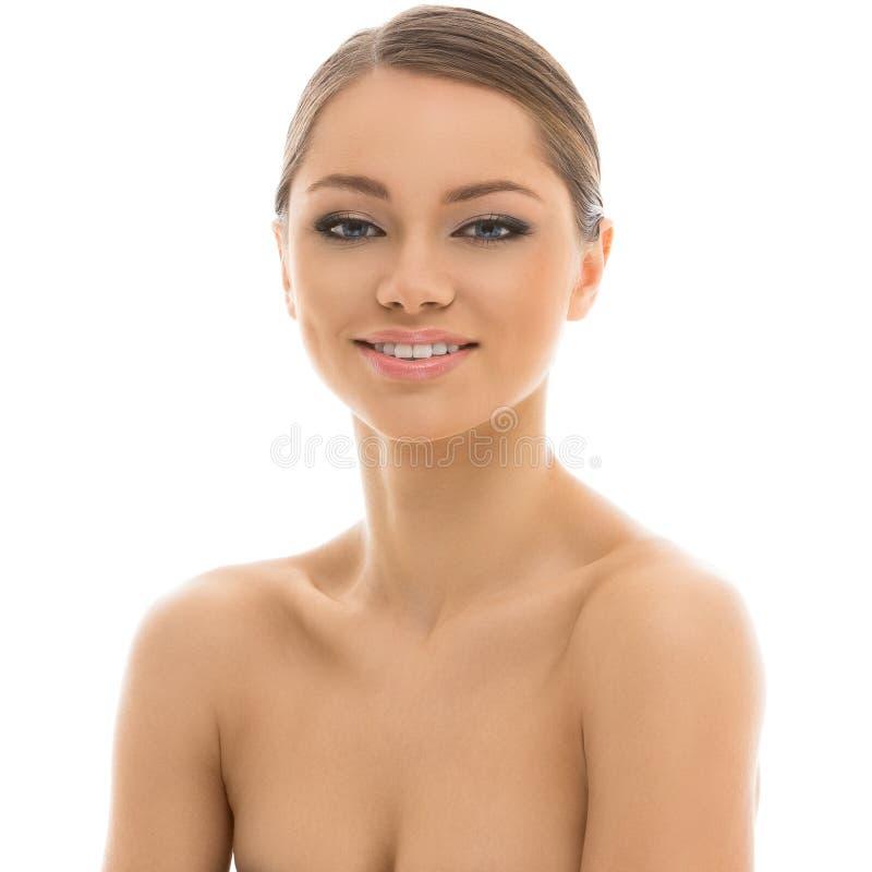 Belle fille avec le visage parfait images stock
