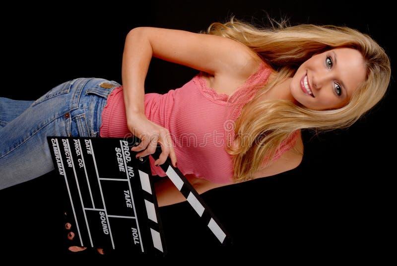Belle fille blonde avec un panneau de tape photos libres de droits