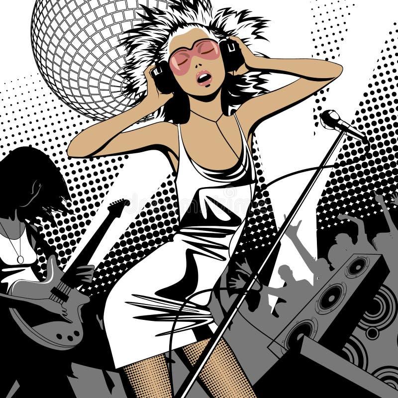 Belle fille blonde dans la robe métallique avec les écouteurs et la MIC illustration de vecteur