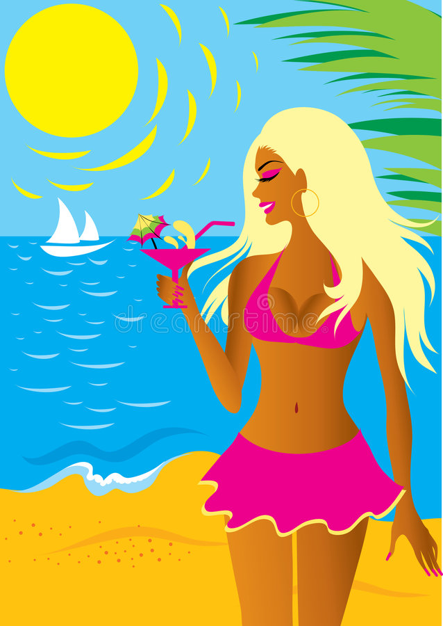 Belle fille blonde dans le bikini illustration de vecteur