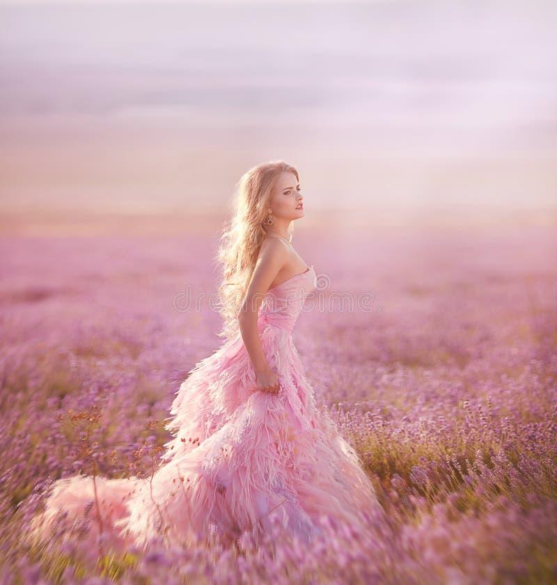 Belle fille blonde dans un domaine de lavande photos stock