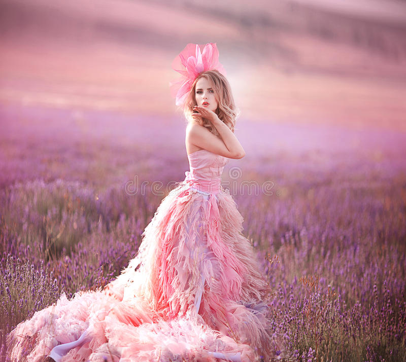 Belle fille blonde dans un domaine de lavande images libres de droits
