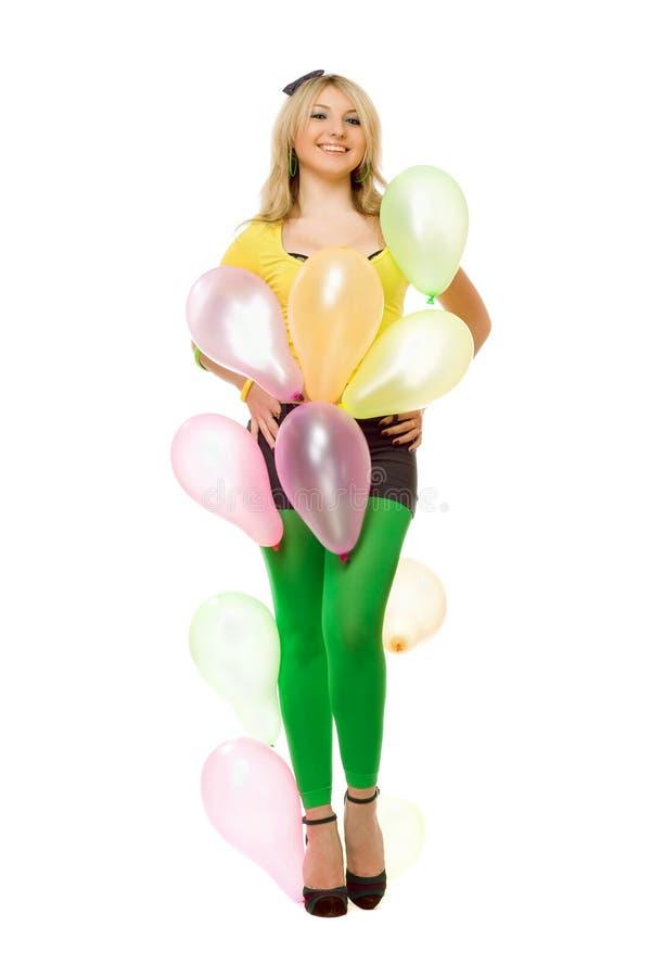 Belle fille blonde sexy avec des ballons photographie stock libre de droits