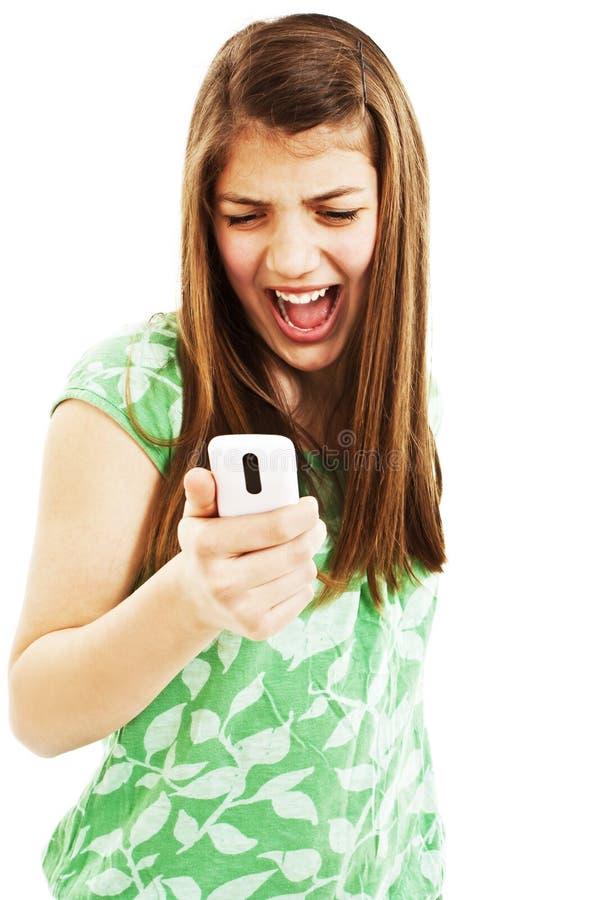 Belle fille criant dans le téléphone image libre de droits