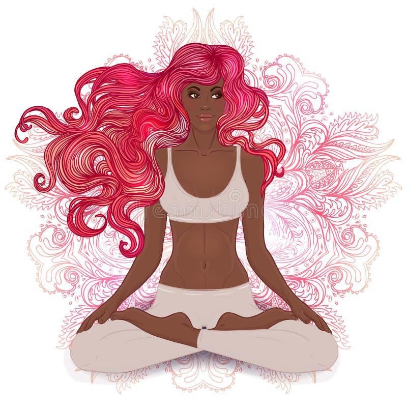 Belle fille d'Afro-américain s'asseyant dans la pose de Lotus avec l'ornat illustration libre de droits