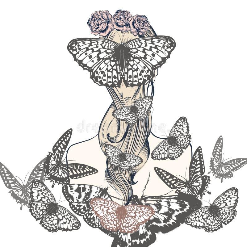Belle fille d'illustration de vecteur de mode avec des papillons illustration stock