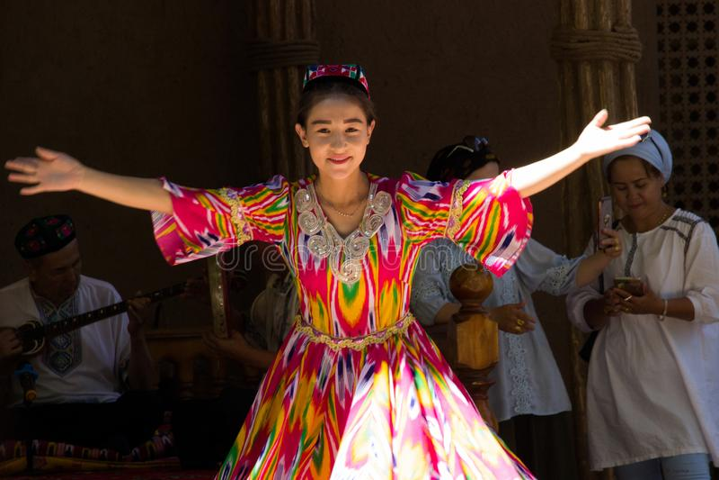 Belle fille d'Uygur dans le Xinjiang photos libres de droits