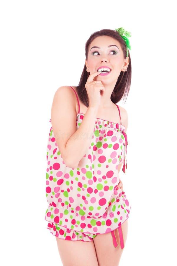 Belle fille dans des pyjamas photographie stock libre de droits