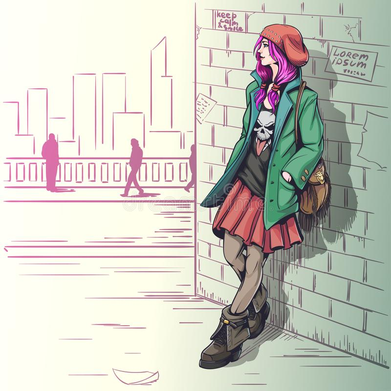 Belle fille dans l'illustration grunge de style illustration de vecteur
