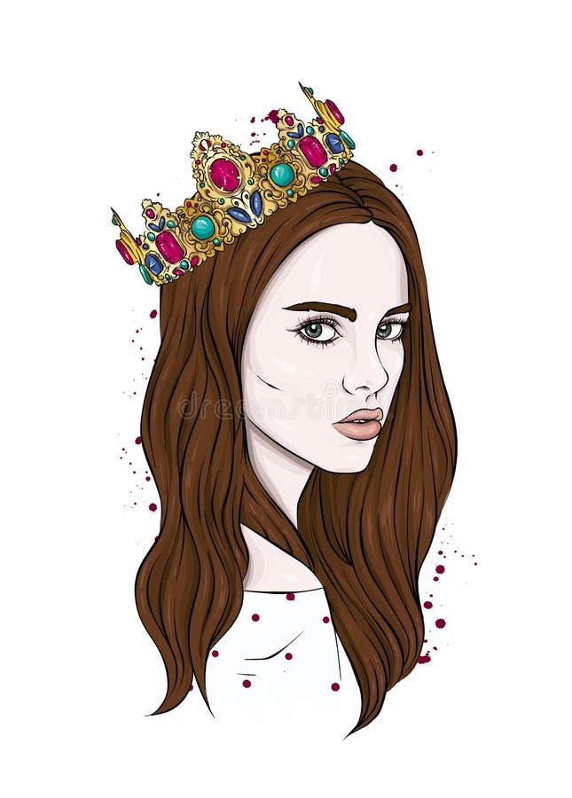 Belle fille dans la couronne Fille avec le long cheveu Dirigez l'illustration pour une carte postale ou une affiche, copie pour d illustration stock