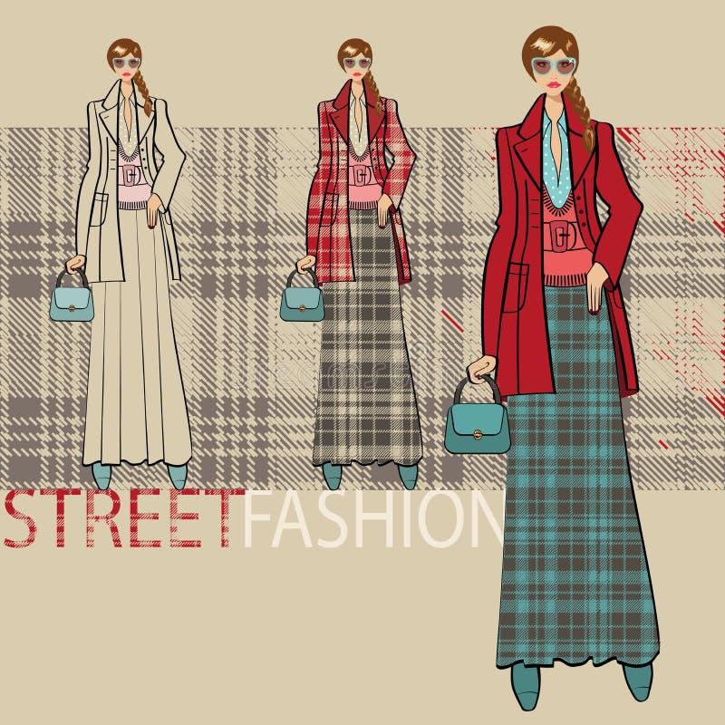 Belle fille dans la longue jupe Ensemble d'options Illustration de mode illustration de vecteur