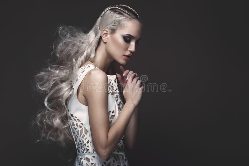 Belle fille dans la robe d'art avec des coiffures d'avant-garde Visage de beauté image libre de droits