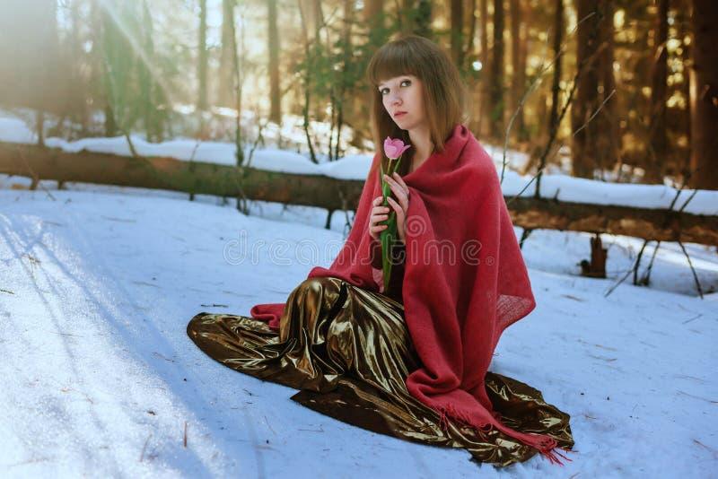 Belle fille dans la robe d'or se reposant dans les bois du soleil de neige au printemps et la tulipe de contacts photos stock