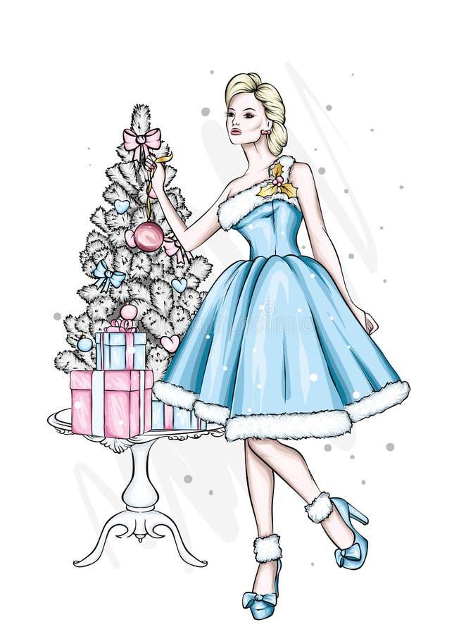 Belle fille dans la robe de soirée  Dirigez l'illustration pour une carte postale ou une affiche illustration stock