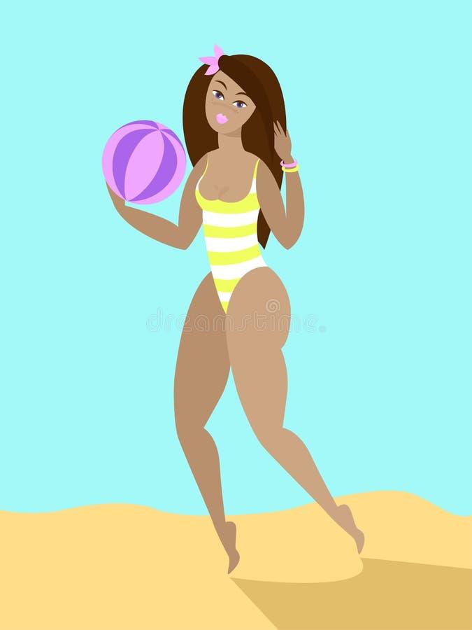 Belle fille dans le bikini sur la plage avec la boule illustration libre de droits