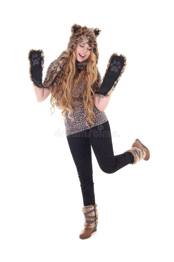Belle fille dans le costume de chat photos stock