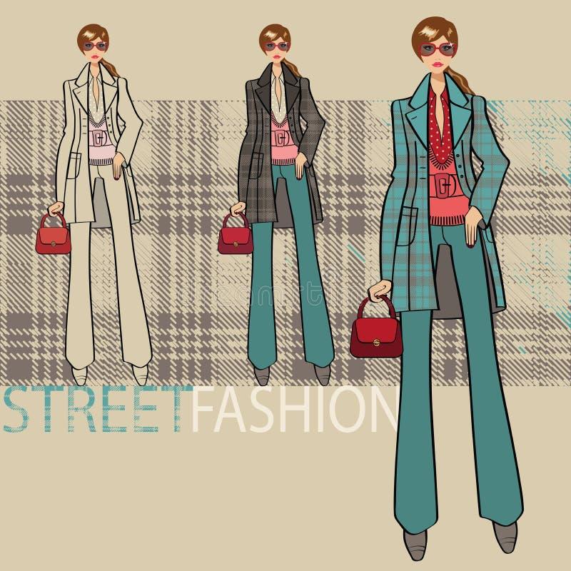 Belle fille dans le manteau bleu Ensemble d'options Illustration de mode illustration stock