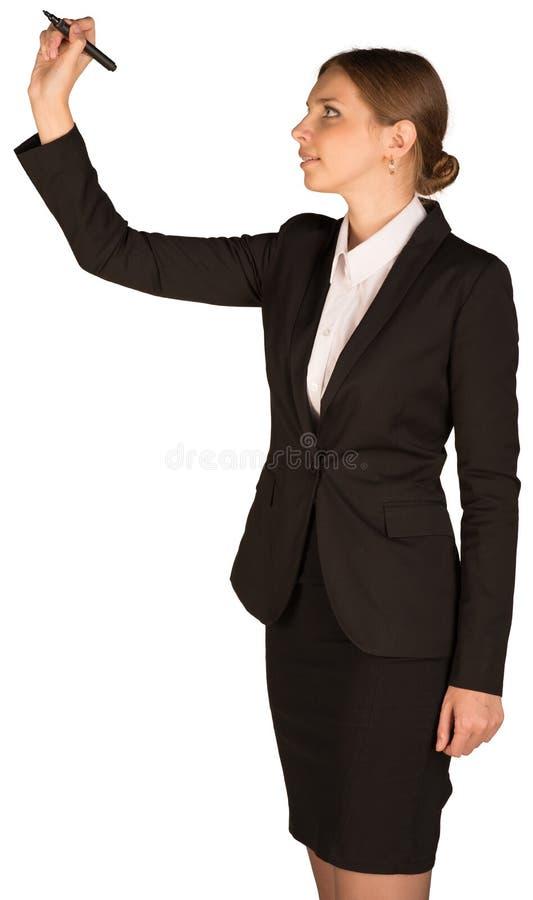 Belle fille dans le stylo de participation de costume et photo stock