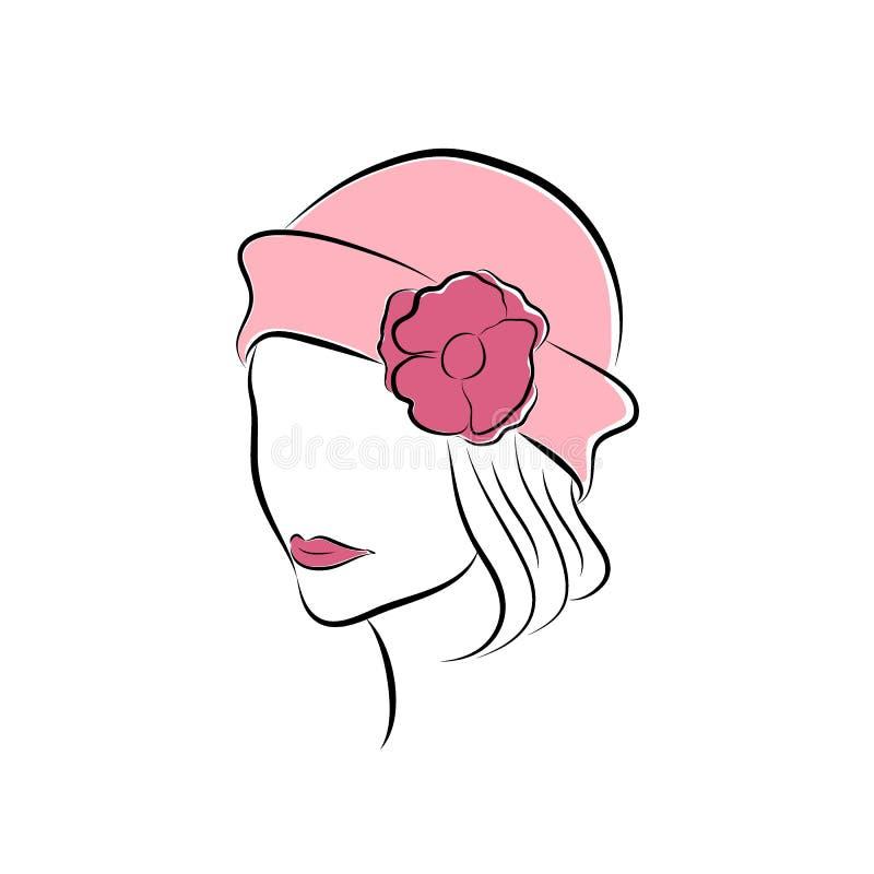 Belle fille dans un chapeau rose avec la fleur Dirigez le style disponible de dessin de croquis de mode pour votre conception EPS illustration stock