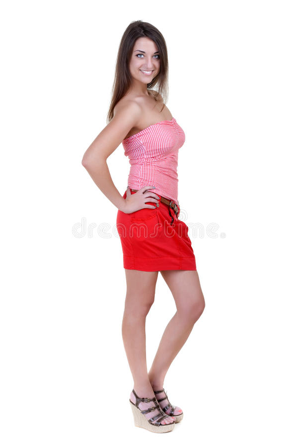 belle fille dans une mini jupe rouge photographie stock image 24933622. Black Bedroom Furniture Sets. Home Design Ideas