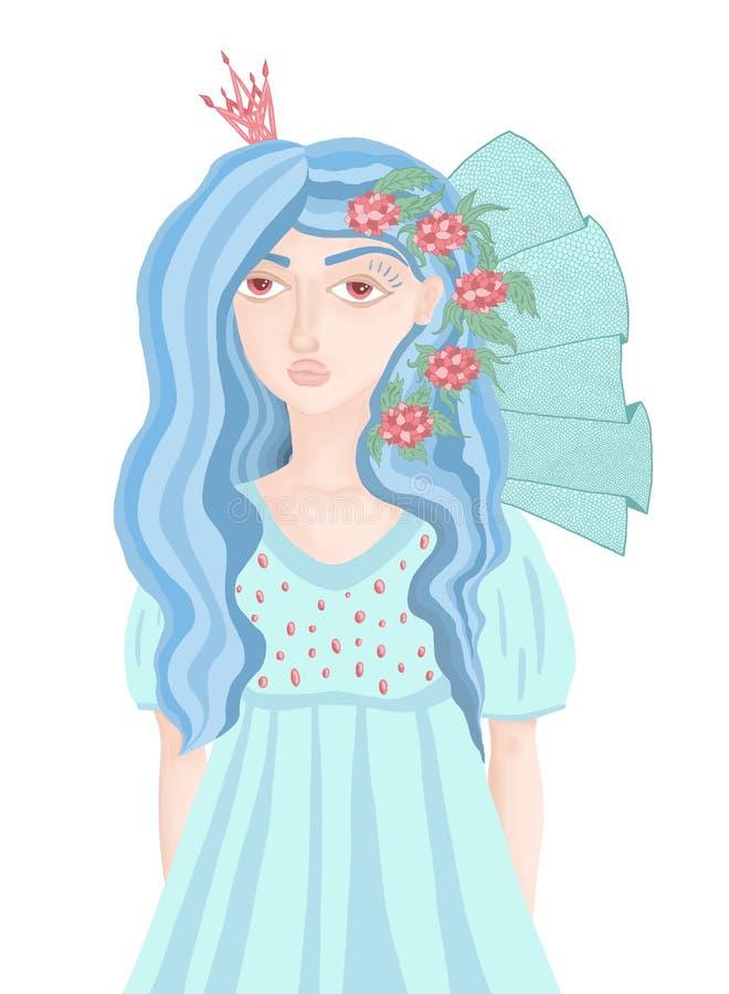 Belle fille dans une robe bleue avec des fleurs dans ses cheveux illustration stock