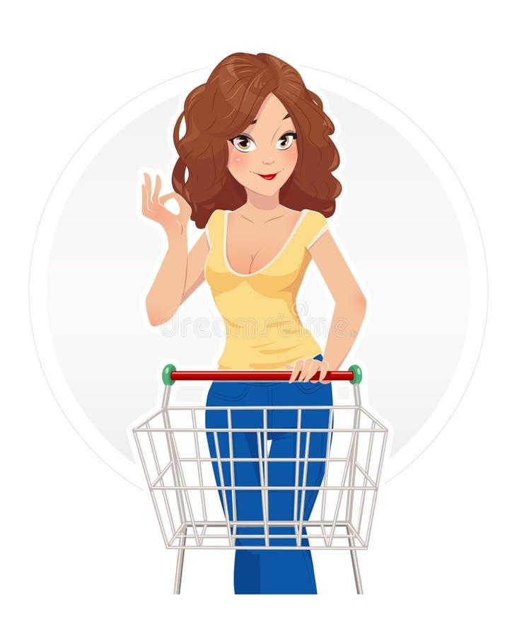 Belle fille de achat avec le chariot illustration libre de droits