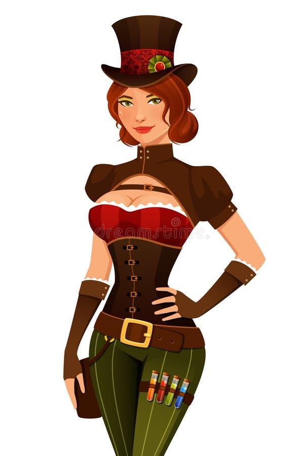 Belle fille de bande dessinée dans le costume de steampunk illustration stock