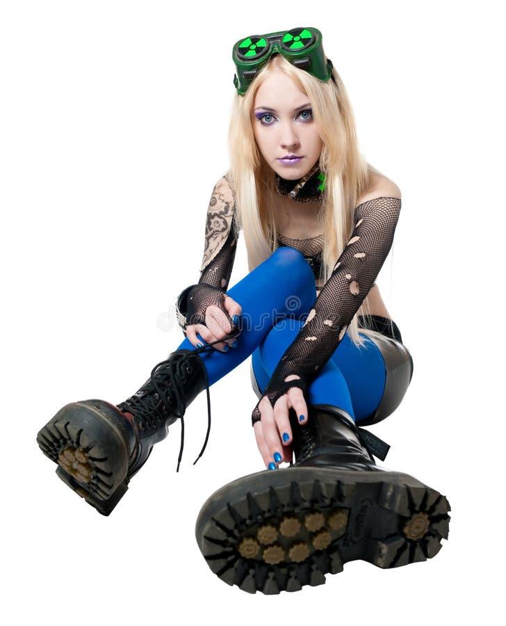Belle fille de blonde de cybergoth photographie stock