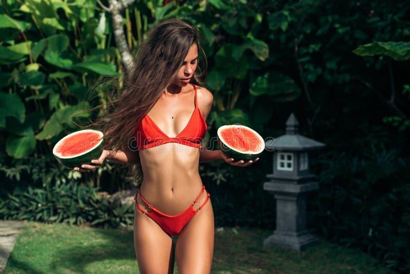 Belle fille de brune de portrait dans le maillot de bain avec le fruit de pastèque se tenant dans des mains Modèle sexy avec le c photographie stock libre de droits