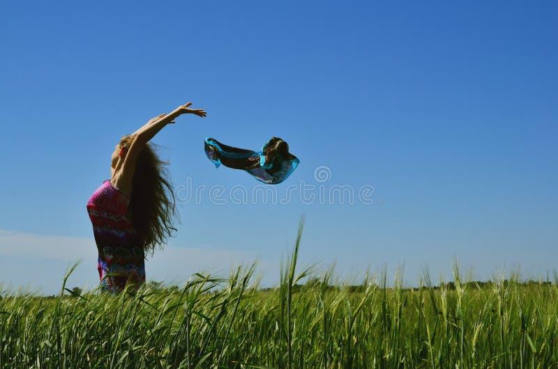 Belle fille de brune se tenant sur le champ vert photographie stock libre de droits
