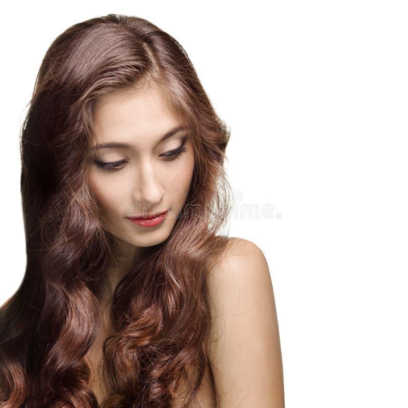 Belle fille de Brunette. Long cheveu sain photo libre de droits