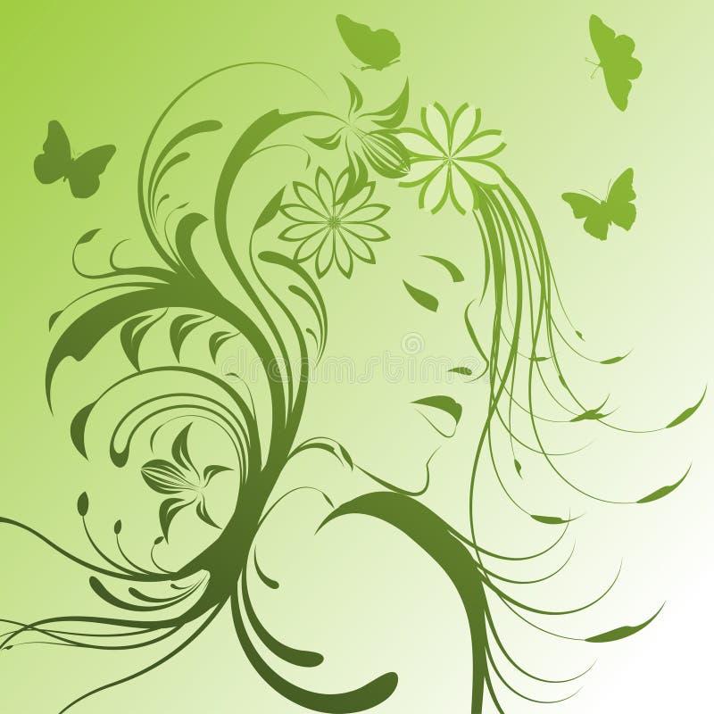 belle fille de fleurs illustration stock