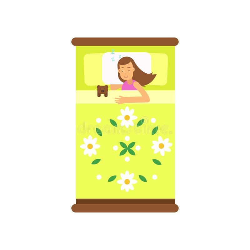 Belle fille de l'adolescence dormant dans son lit avec le jouet, vue d'illustration ci-dessus de vecteur de bande dessinée illustration libre de droits