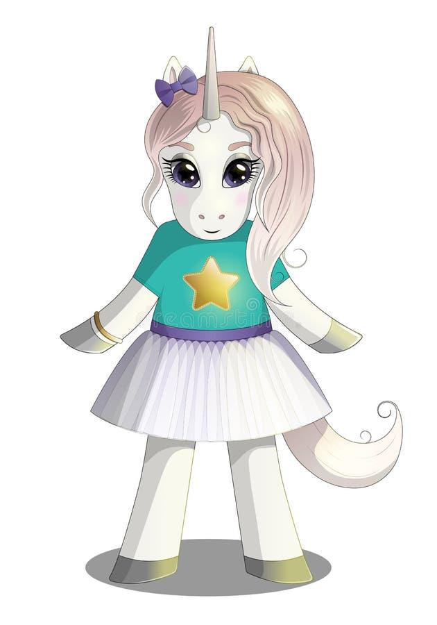 Belle fille de licorne dans la jupe de tutu illustration de vecteur