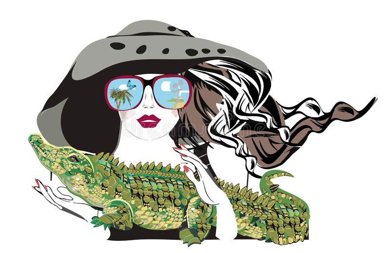 Belle fille de mode dans le chapeau et des lunettes de soleil avec son animal familier, un crocodile illustration libre de droits
