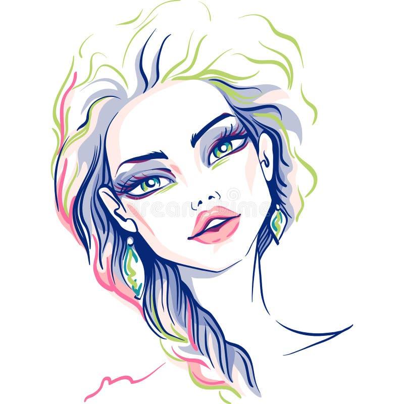 Belle fille de mode de vecteur illustration stock