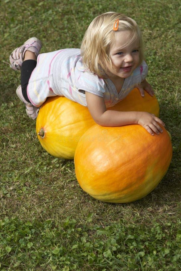 Belle fille de petit enfant ayant l'amusement avec l'agriculture sur la correction organique de potiron image stock